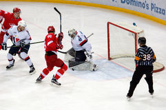 J. Pogge (49) save. MOSCOW, RUSSIA - NOVEMBER 26, 2016: J. Pogge (49) save on hockey game Spartak vs Slovan on Russian KHL premier hockey league Royalty Free Stock Images