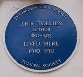 J r r Tolkien blåttplatta i Birmingham, England Arkivfoto