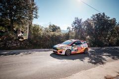 J Solans u. M Barreiro konkurrieren im 2019 WRC-Ausflug de Corse lizenzfreies stockfoto