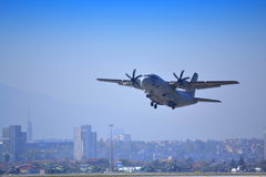 С-27J SPARTAN plane flew over Sofia city Stock Images