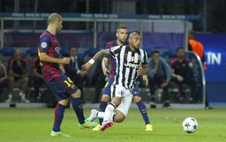 Jésus Maschérano , Jordi Alba and Arturo Vidal Juventus v FC Barcelona - UEFA Champions League Final Royalty Free Stock Image