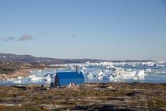 Jałowy piec do spalania w Rodebay, Greenland fotografia royalty free