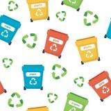 Jałowy sortuje wzór z różnymi kolorowymi śmieciarskimi koszami, pojęcie ilustracja dla przetwarzać, ekologia, trwałość ilustracja wektor