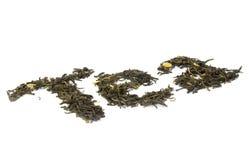 jaśminów susi liść zrobili herbacianemu słowu zdjęcie stock