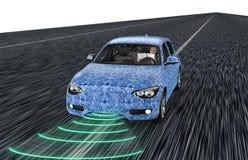 Jaźń jedzie elektronicznego komputeru samochód na drodze royalty ilustracja