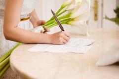 Jaź podpisuje małżeństwa świadectwo Obrazy Royalty Free