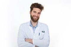 Jaźni ufna lekarka z krzyżować rękami Zdjęcie Stock