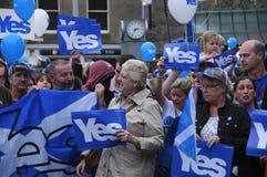 Ja Anhänger Scottish Indy-Hinweis 2014 Lizenzfreie Stockfotografie