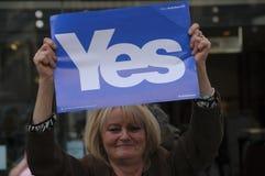 Ja Anhänger Scottish Indy-Hinweis 2014 Lizenzfreie Stockbilder