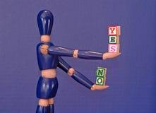 Ja balancieren und Nr. Stockbilder