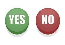 Ja eller inga knappar stock illustrationer