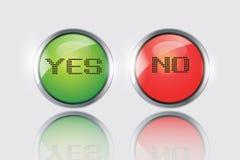 Ja eller ingen symbolsvektor Fotografering för Bildbyråer
