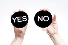 Ja eller inget beslut royaltyfria foton