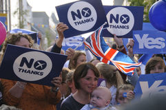 Ja en Geen verdedigers Schotse Indy Ref 2014 Stock Foto