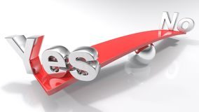 Ja en Nr bij de overkanten van een evenwichtige bar - het 3D teruggeven Stock Afbeeldingen