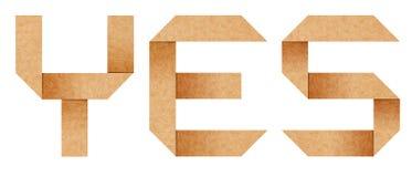 Ja geïsoleerd woord van het document van de Origami brieven Royalty-vrije Stock Fotografie