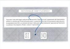 JA GEEN MISSCHIEN Italiaans stembriefje Stock Afbeelding