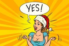 Ja glad jultomtenkvinna Arkivbilder