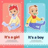 Ja i Ja s chłopiec s dziewczyny ilustracja dla nowonarodzonego dziecko prysznic kartka z pozdrowieniami projekta ilustracji