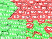 Ja-inget begrepp på riktningspilar Arkivbilder