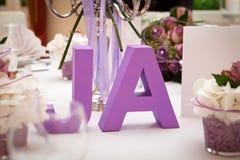 JA - JA - säger ja - bröllop Arkivfoto