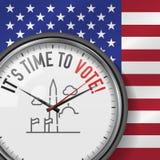 Ja jest czasem Głosować Biały wektoru zegar z Motywacyjnym sloganem Analogowy metalu zegarek z szkłem Waszyngtońskiego zabytku ik royalty ilustracja