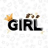 Ja jest dziewczyny literowaniem z koroną na białym tle r Elegancki girly druk dla obraz royalty free