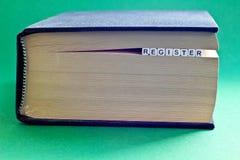 Ja jest książkowy z słowo rejestrem Zdjęcie Royalty Free