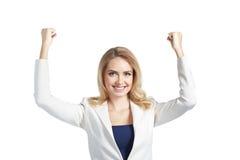 Ja jest mój zwycięstwem Szczęśliwa piękna kobieta utrzymuje ręki podnosić Zdjęcia Royalty Free