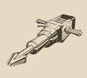 Ja jest monochromatycznym ilustracją jackhammer Zdjęcia Stock