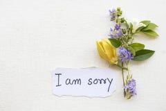 Ja jestem zmartwionym wiadomości karty handwriting z ylang kwiatem zdjęcia royalty free