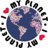 ja kocham mój planetę Fotografia Royalty Free