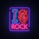 ja kocham skałę Neonowy znak, jaskrawy sztandar, symbol, plakat na temacie rockowa ` n ` rolki muzyka dla przyjęcia, koncert, fes ilustracja wektor