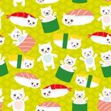 ja kocham suszi Kawaii Maguro Toro śmieszny suszi z różowymi policzkami i dużymi oczami, emoji Dziecka błękita tło z japońskim ok royalty ilustracja