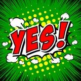 Ja! Komisk anförandebubbla, tecknad film Royaltyfri Fotografi