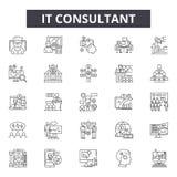 Ja konsultant kreskowe ikony, znaki, wektoru set, kontur ilustracji pojęcie royalty ilustracja