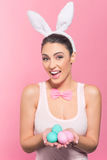 Ja ` m królik z Wielkanocnymi jajkami Obraz Royalty Free