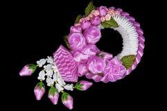Jaśminu i menchia kwiatu girlandy zdjęcie stock