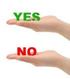 Ja/nee handen en woorden stock fotografie