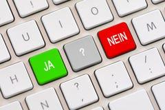 Ja or Nein choice in Deutsch on keyboard Royalty Free Stock Photos