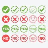 Ja och inga cirkelsymboler i kontur och översikt ställ in Royaltyfri Foto
