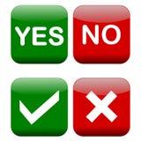 Ja och inga knappar Arkivbild