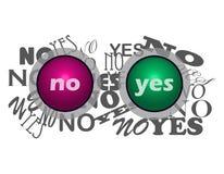 Ja och inga knappar Fotografering för Bildbyråer