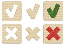 Ja och inga pappsymboler Arkivbild
