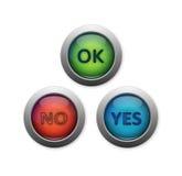 Ja och ingen knapp Fotografering för Bildbyråer