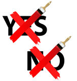 Ja och ingen kontroll markera symbolsuppsättningen Royaltyfri Foto