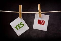 Ja och inget begrepp Fotografering för Bildbyråer