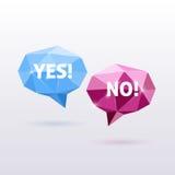 Ja och inget Polygonal vektoranförande för triangel stock illustrationer