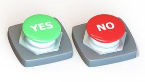 Ja oder kein Schalter Stockbild