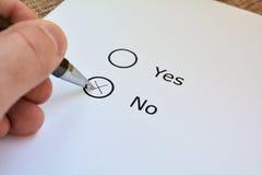 Ja oder Nr Lizenzfreies Stockbild